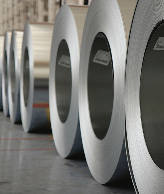 Cold Rolled and finished stainless steel coils at a Jindal Stainless plant