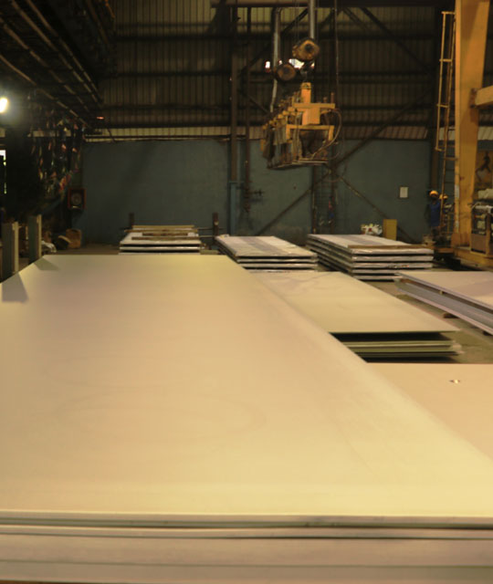Stainless steel plates at Jindal Stainless factory