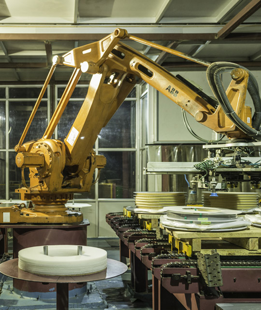 Robotic packaging arm at Jindal Stainless plant in Hisar for touch-free packaging of stainless steel precision strips